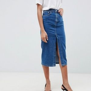 ASOS Denim Midi Skirt With Split Front